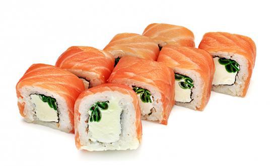Заказать Ролл Филадельфия с зеленым луком с доставкой на дом в Новосибирске, Империя суши